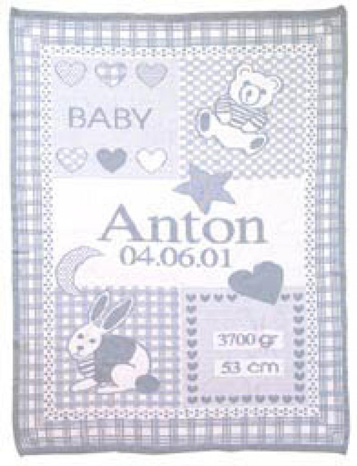 babydecke mit namen und geburtsdatum ikast etikett. Black Bedroom Furniture Sets. Home Design Ideas